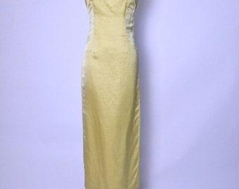 Vintage 1950s 50s Silk Bombshell Wiggle Dress Gold Sheath Hourglass / Nipped Waist