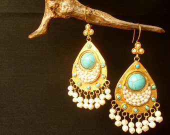Large Boho Earrings. Handcrafted Brass Earrings with Cultured Pearls & Blue Stones. Ethnic jewelry