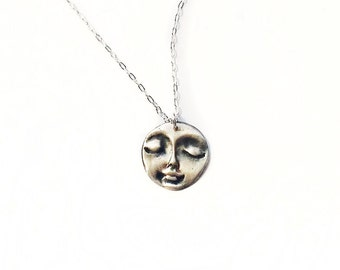 Face Pendant Silver Necklace - Sterling Silver Necklace - Mask Necklace - Metal Work Jewelry - PMC Jewelry