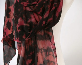 SALE • Use 40% Off Coupon: HOLIDAY40 • Reds Multi-color Silk Shibori Scarf Wrap in Deep Pink, Salmon, Magenta