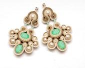 Chandelier pacific opal earrings soutache beige cream. Chanderlier pearls earrings statement. Unique jewelry mint teal. Chandelier crystals.
