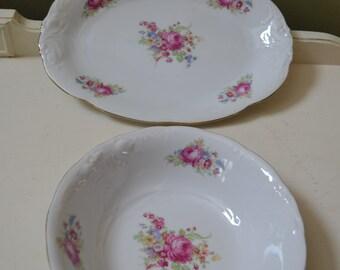 Vintage WAWEL CHINA Serving Platter & Serving Bowl Pink Roses WAV11 Made in Poland Gold Trim