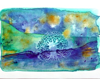 Abstract Landscape, Watercolor Abstraction, Watercolor Landscape, Green and Purple, Tree Art, Water Reflection