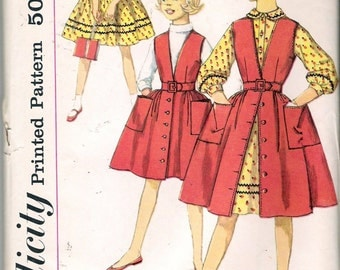 """Vintage 1959 Simplicity 3138 Girl's Dress & Jumper Sewing Pattern Size 10  Breast 28"""""""