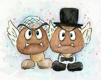 Mario Wedding, Goomba Bride and Groom Watercolor Art Print, Geek Videogame Nintendo