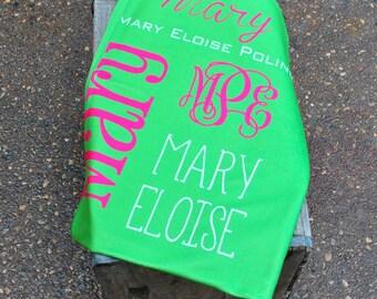 Personalized Printed Baby Blanket, Monogrammed Blanket, Personalized Baby Gift, Monogrammed Baby Gift, Monogrammed Swaddle Blanket