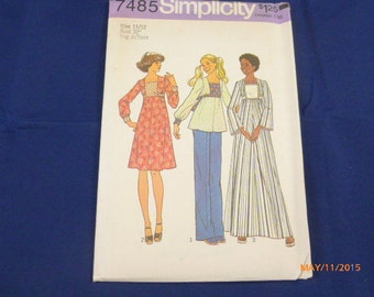 "7485 Simplicity SZ 11 12 Bust 32"" Young Jr Teen Pattern Dress in Two Lengths or Top Vintage 1976 Uncut"