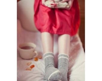 Grey Socks Postcard, Happy Holiday, Christmas Tea Cup Card, Red Dress, Winter Postcards