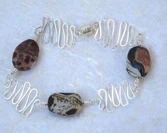 Painted Pony Jasper Hand Hammered Silver  Bracelet