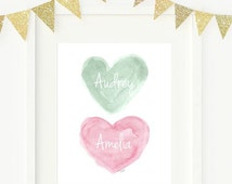 Pink and Mint Nursery Art, 8x10 Personalized Name, Watercolor Print, Pink and Green Art, Twin Girls Gift, Sisters Art, Sisters Room Decor