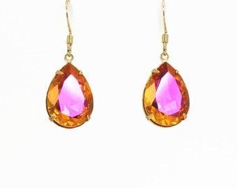 Swarovski Astral Pink Crystal Pear Ear Drops