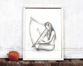 THE HARP. Giclee Fine Art Print. Pencil Drawing by Laumee. Wall Art in black and white. Portrait of a woman playing harp. Music illustration