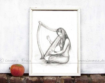 Fine Art Print THE HARP. Pencil Drawing Wall Art in black and white.