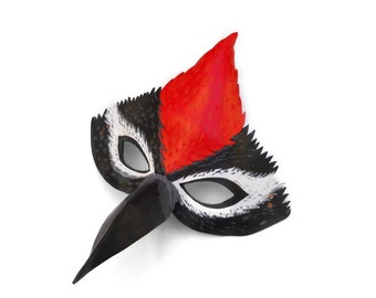 Woodpecker Leather Mask Bird Halloween Animal Red Black White Grey Picidae Sapsuckers Plumage Masquerade Carnival Party Kid Adult Carnival
