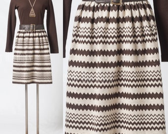 Mod dress, 60s Vintage brown dress, Mad Men dress, Chevron dress, stripe dress - S