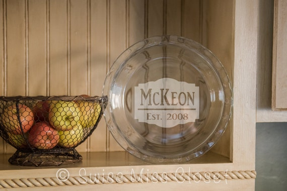 Custom Etched Pie Plate Personalized Bakeware