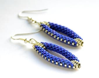 Beaded Earrings / Blue Delica Earrings / Delica Beadwork / Earrings / Handmade Earrings
