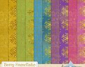 Digital Glitter Paper - Digital Christmas Paper - Digital Snowflake Paper - Snowflake Digital Paper - Gold Digital Paper -  Scrapbook Paper