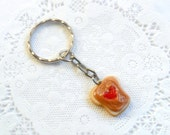 Peanut Butter and Strawberry Jelly Heart Keychain, Purse Charm, or Phone Charm (Dust Plug or Cell Phone Strap), Cute :D
