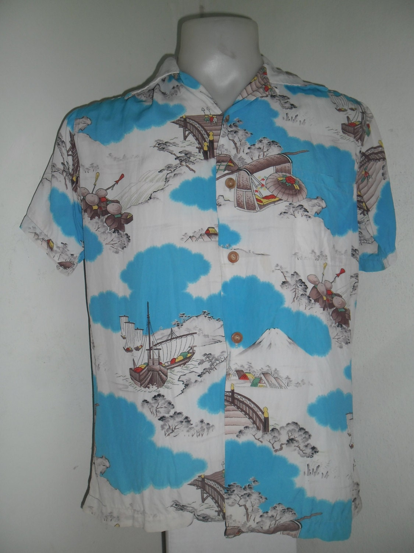 Rare 40 50 s flying fish blue white rayon hawaiian shirt for Fish hawaiian shirt