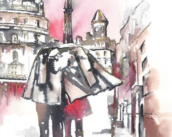 Paris Inspired Art Print from Original Watercolor Painting - Lana Moes Art - Contemporary Home Decor - Romantic Bliss