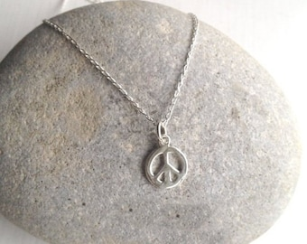 Sterling Silver Peace Necklace UK Christmas Gift Birthday Gift