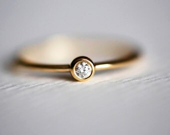 Solitaire Diamond Ring, Tiny Diamond Ring, Simple Engagement Ring, Thin Diamond Band, 14k SOLID GOLD