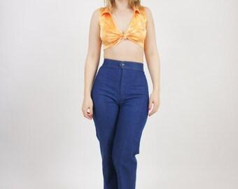 Vintage Women's Orange Belly Shirt Floral Shiny Crop Top Blouse Disco Summer