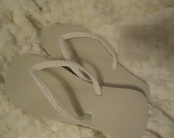 Pearl Covered Flip Flops-Help Stop The Ivory Trade!!