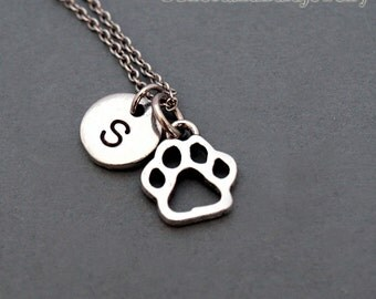 Tiny Dog Paw Charm necklace, Dog paw charm, Pet necklace, initial necklace, hand stamped, personalized, antique silver, monogram