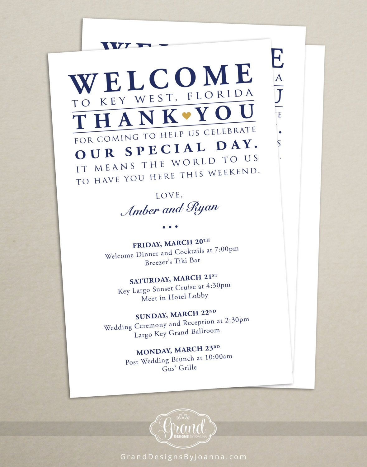Itinerary Cards for Wedding Hotel Welcome Bag Printed – Wedding Weekend Itinerary Template