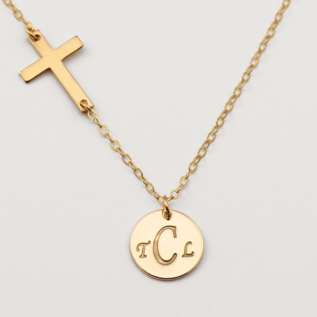 monogram initial necklace gold disc necklace by