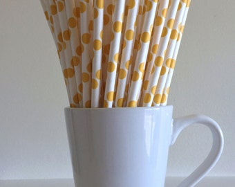 Yellow Polka Dot Paper Straws Party Supplies Party Decor Bar Cart Accessories Cake Pop Sticks Mason Jar Straws Graduation Party