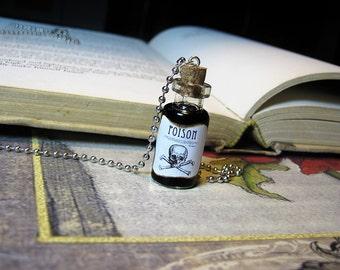Poison 2ml Glass Bottle Necklace Charm - Black Liquid Toxic Potion Cork Pendant - Halloween Goth Arsenic