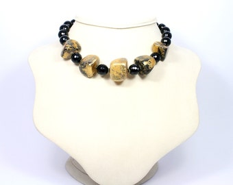 Black Gold Necklace - Gold Foil Beaded Necklace - Onyx Necklace - Black Gold Bead Necklace - Gemstone Necklace - Gemstone Jewelry - Choker