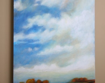 Large landscape painting, big sky, clouds and trees, 24x36x1.5""