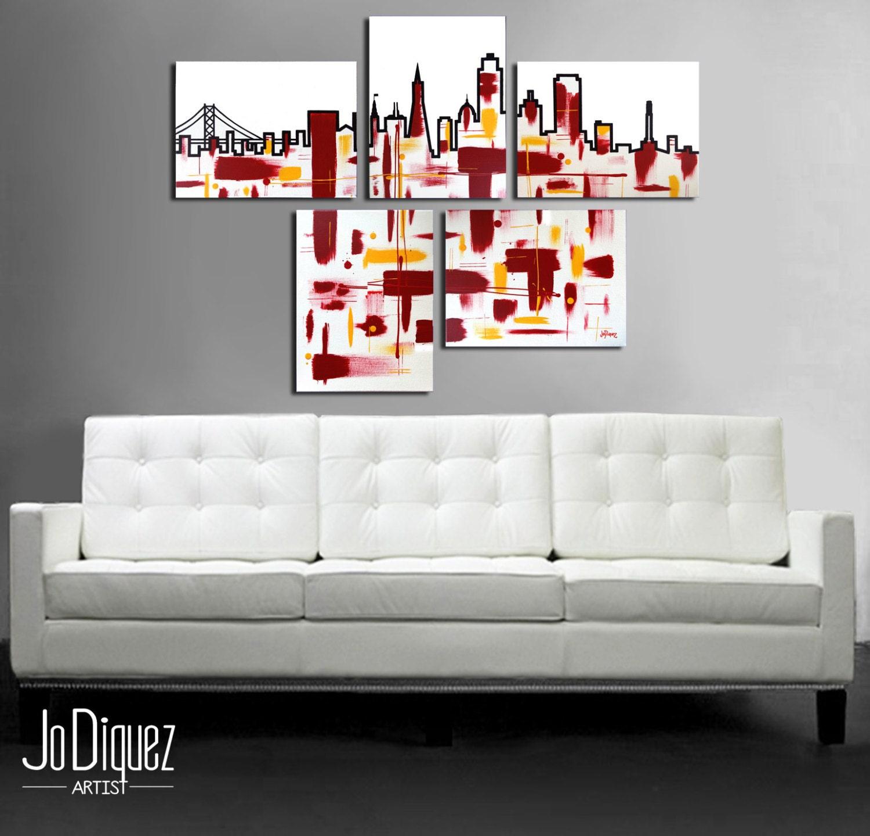 original san francisco painting 5 piece canvas art. Black Bedroom Furniture Sets. Home Design Ideas