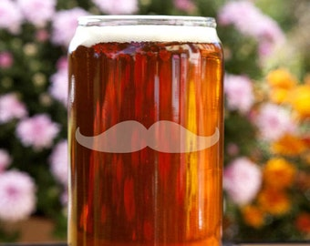 Mustache Customizable Etched Beer Can Glass Glassware Gift