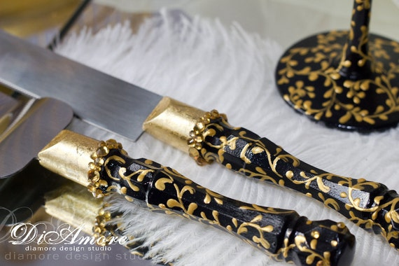 black wedding cake serving set black and gold cake server lace personalized server and 11883