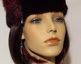 Dark Mink Headband with Claret Feathered Fascinator and Earrings Set