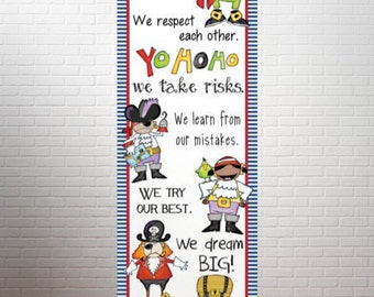 PIRATE theme - Character Education Classroom Banner / X- Large / On Our Ship / In Our Class