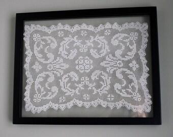 Antique Edwardian Filet Lace, Dollie, Shabby Chic, Linen