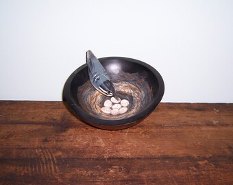 Folk Art hand carved and painted Rose Breasted Nuthatch
