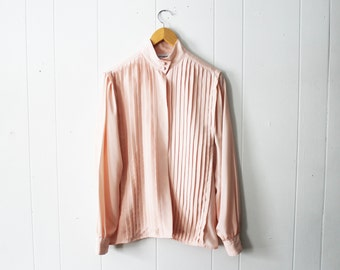 Vintage 80s Pink Peach Blush Pleated Silky Button Up Blouse by JH Collectibles Size 10