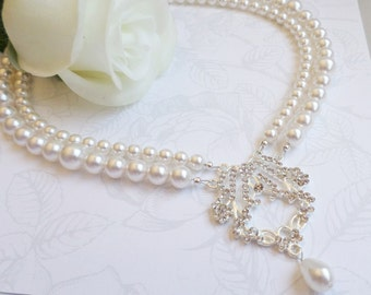 FREE US Ship 2 Strand Swarovski Pearl And Rhinestone Statement Bridal Necklace Art Deco Necklace Victorian Style Bridal Necklace
