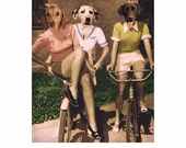 "Dog Art Print Animal Art Dachshund Dalmation Labrador Retriever Anthropomorphic Quirky Fun Gift Animals In Clothes (2 sizes) ""The Bike Ride"""