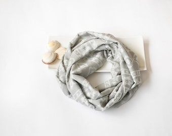 Circle Scarf, Gray Cotton Scarf, Printed Loop Scarf, Boho Neutral Scarf, Infinity Scarf, Summer Loop Scarf, Women's Gift, Christmas Gift
