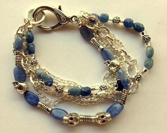 Skull or Grateful Dead Denim Blue Lapis and Silver Skulls Bracelet - Unisex Skulls and Roses Lapis and Silver Bracelet