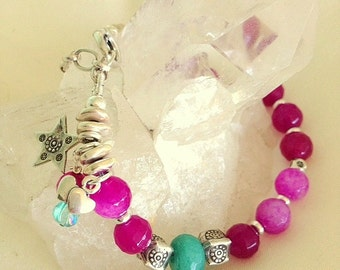 Rose Pink Agate, Turquoise Chalcedony and Sterling Silver Bracelet - Sundance Style