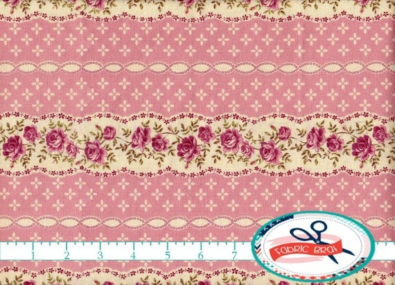 SHABBY CHIC Fabric by the Yard Fat Quarter Pink Fabric Striped